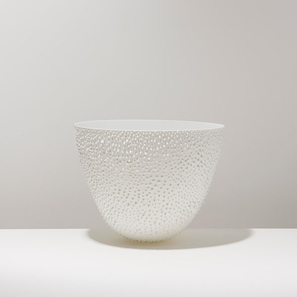 d20c536b9ea Bowl Porcelain Parabola-shaped bowls with porcelain thorns spread  throughout the surface of the object, engraved with finely graded lines.