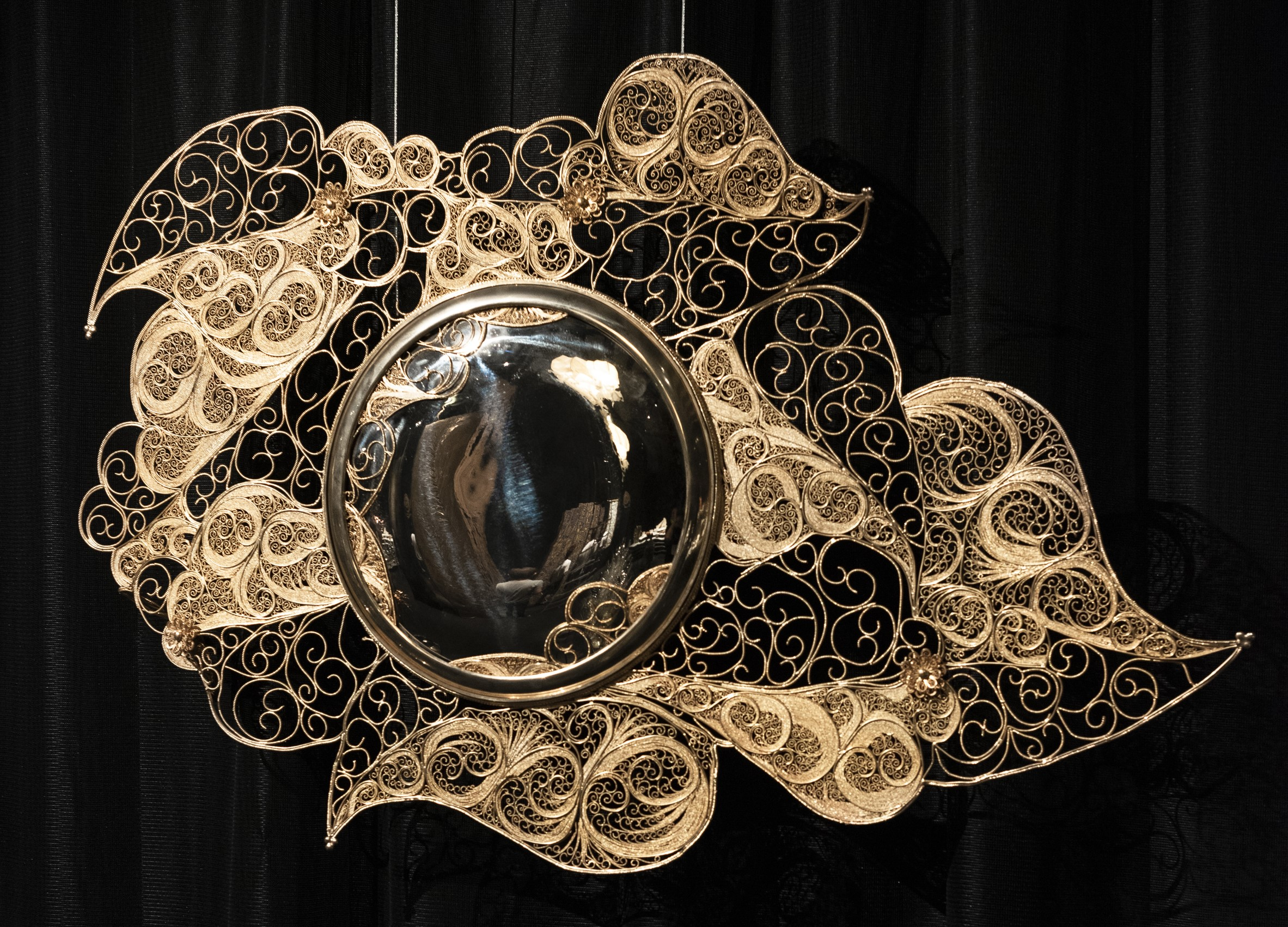 6297608d4ce Filigree Mirror Brass sheet, brass cords, gilded in 18k gold, glass The  concave frame of this circular mirror was hammered from a single sheet of  brass.